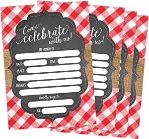 50 Red and White Summer BBQ Party Invitations for Children, Kids, Teens & Adults, I Do Barbecue Beach Housewarming Cards, Summertime Birthday Pool Family Reunion Invite, Picnic Cookout Invites