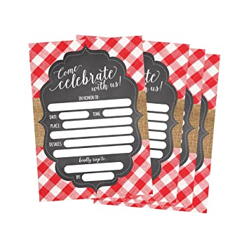 amazon com 50 red and white summer bbq party invitations for