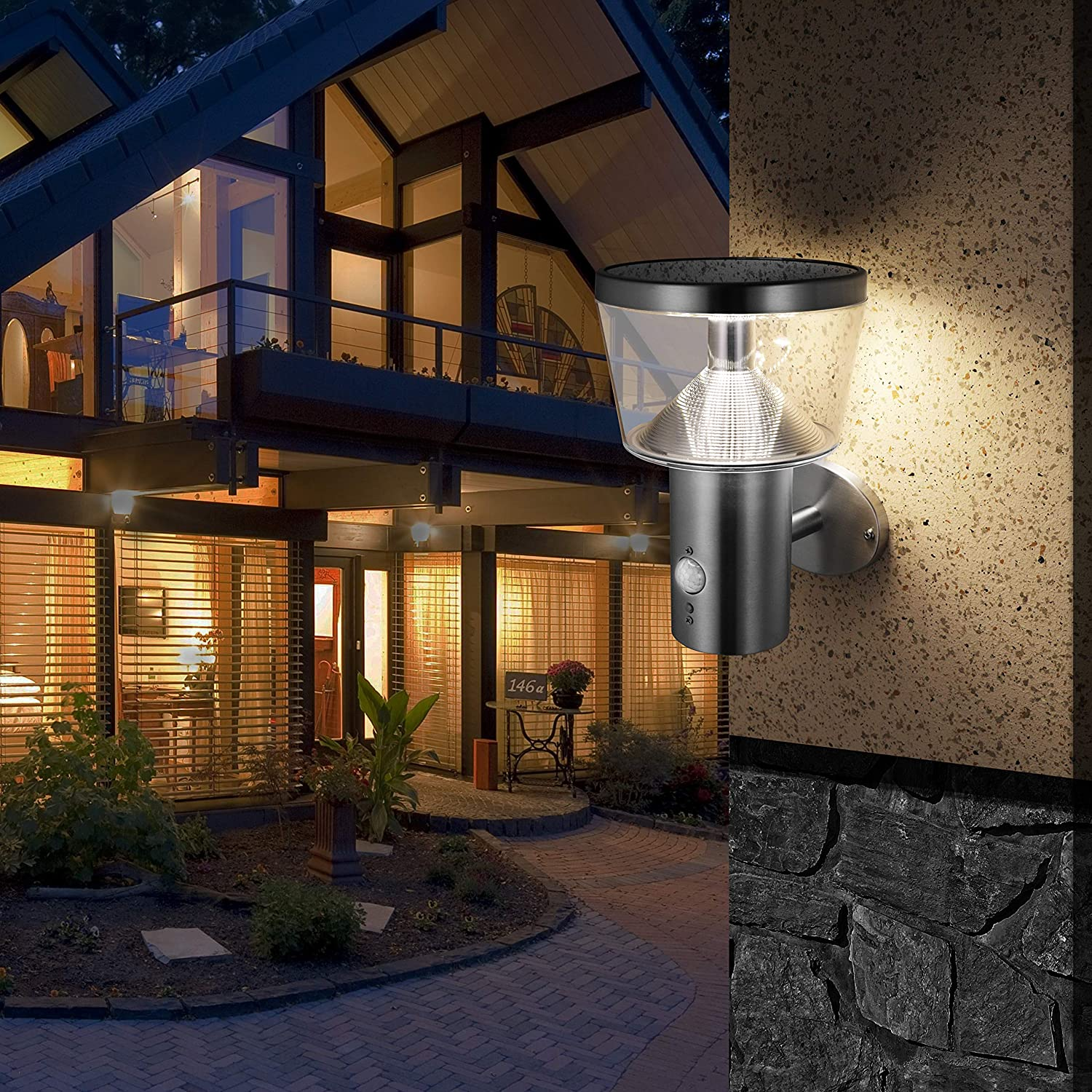 Stainless Steel Outdoor Sconce 4000K Natural White Solar Wall Light with Motion Sensor and Dust to Dawn Sensor LED Porch Lighting Fixture Silver Multiple Lighting Modes for Diverse Needs