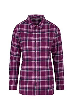 32bb6d4ee53 Mountain Warehouse Balsam Brushed Longline Flannel Long Sleeve Womens Shirt  - Breathable Checked Shirt