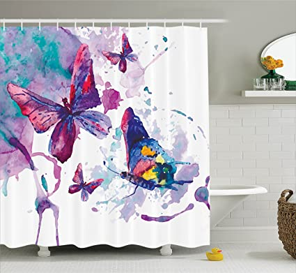 Butterflies Decorations Shower Curtain Set By Ambesonne, Watercolors Print  Of Butterfly Sign Of The Soul