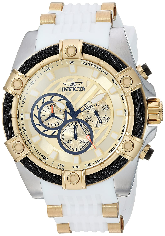 Invicta Men s Bolt Quartz Watch with Silicone Polyurethane Stainless Steel Strap, White, 25 Model 25528