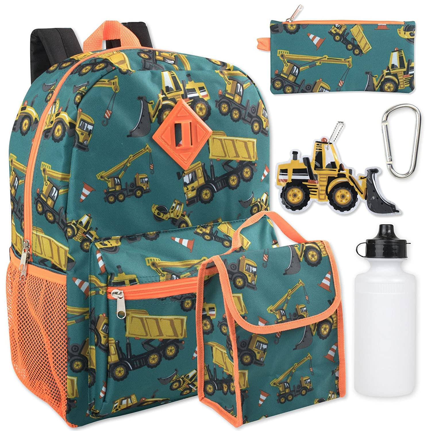 Boy's 6 in 1 Backpack Set With Lunch Bag, Pencil Case, Bottle, Keychain, Clip Clip (Trucks)