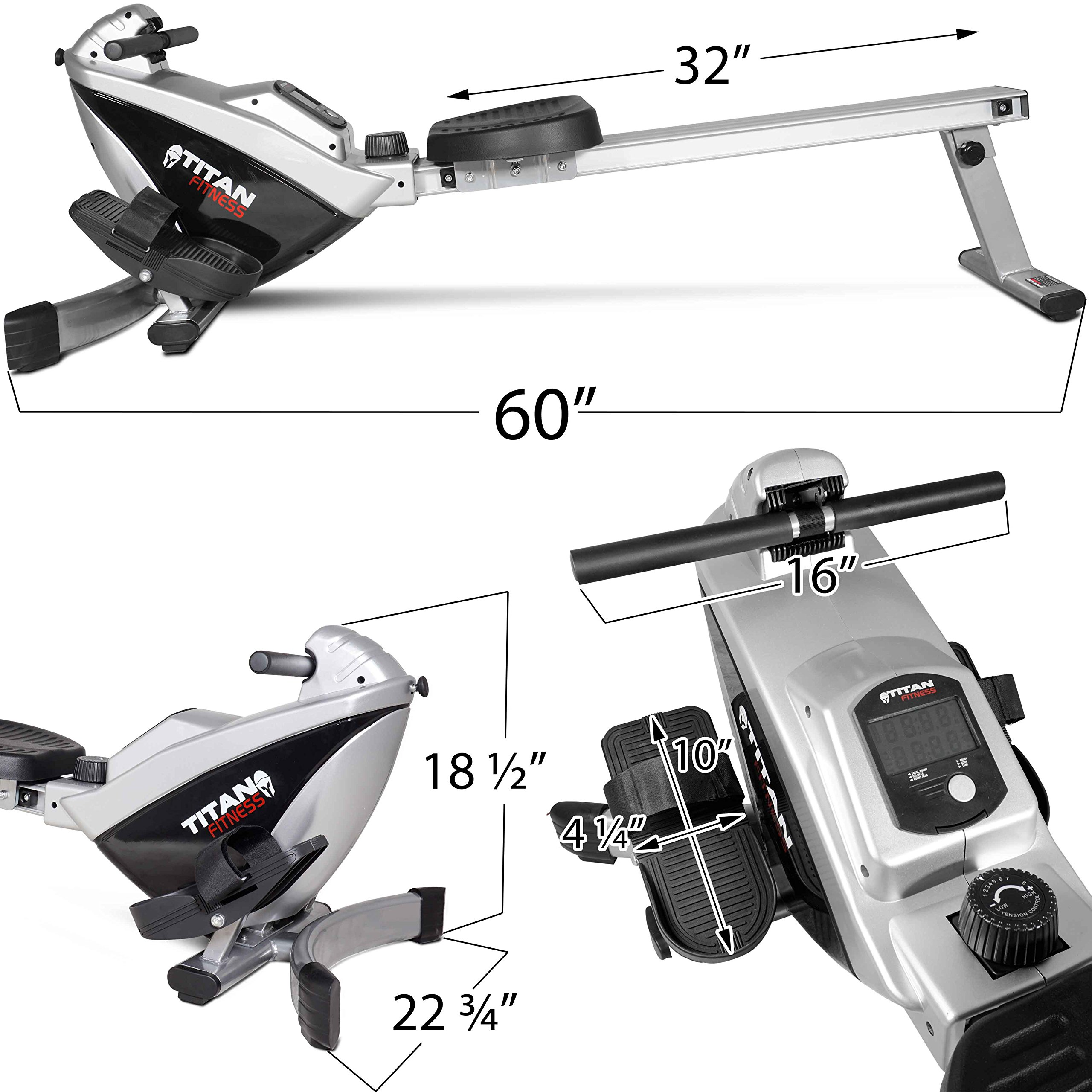 Titan Adjustable Magnetic Resistance Rowing Machine w/LCD Screen Rower Folds Up & Saves Space by TITAN FITNESS (Image #2)