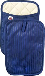 Big Red House Pot Holders, with The Heat Resistance of Silicone and Flexibility of Cotton, Recycled Cotton Infill, Terrycloth Lining, Set of 2 Royal Blue