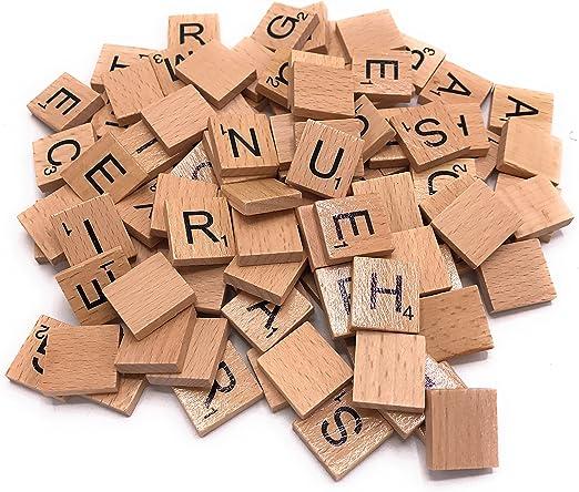 200 de madera Scrabble Azulejos Negro Letras Puzzle de madera de alfabeto UK: Amazon.es: Hogar