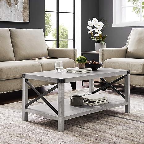 Amazon Com Walker Edison Sedalia Modern Farmhouse Metal X Coffee Table 40 Inch Stone Grey Furniture Decor