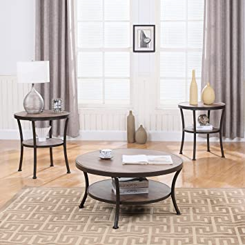 3 Piece Modern Round Coffee Table And 2 End Tables Living Room Set Brown