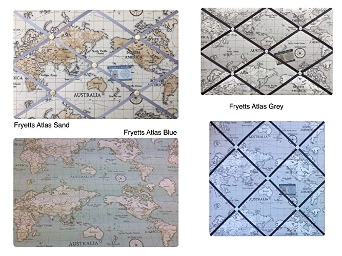 Custom Handmade Bespoke Fabric Pin//Memo//Notice//Photo Cork Memo Board With Blue World Map Globe Atlas With Your Choice of Sizes /& Ribbons