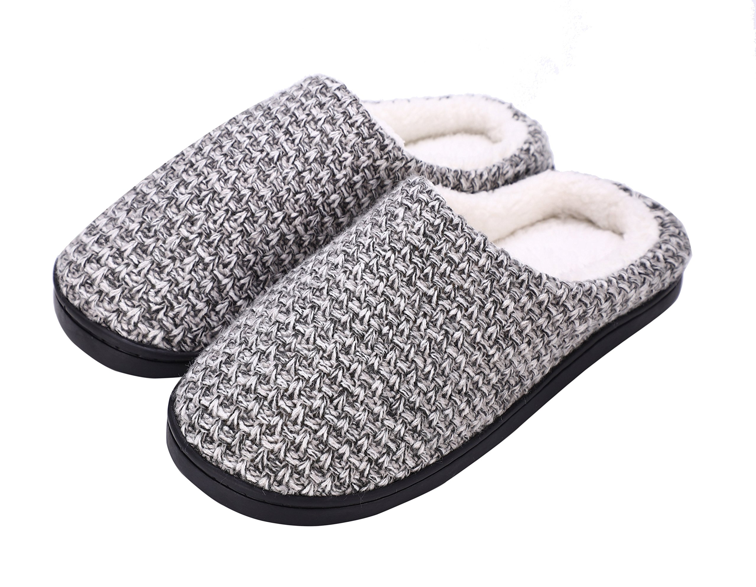DRSLPAR House Memory Foam Slippers Comfort Plush Lining Slip-on Knit Indoor Outdoor Shoes for Men Women(Grey-Beige X-Large) by DRSLPAR (Image #7)