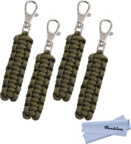 5 Pack Pink Paracord Zipper Pulls for Backpacks Jackets Luggage Survival Kits