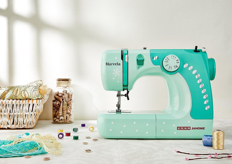 Usha Janome Marvela 60 Watt Sewing Machine White Green Decals Ox 921 Kitchen Scissor Home