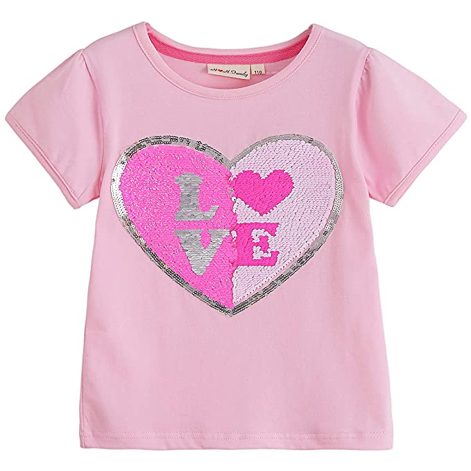 14ac7993ac1 Amazon.com  Glitter Flip Sequin Girl s T-Shirt Top Short Long Sleeve ...