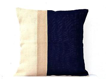 Amazon.com: Amore Beaute Navy Blue Colorblock Pillow Case ...