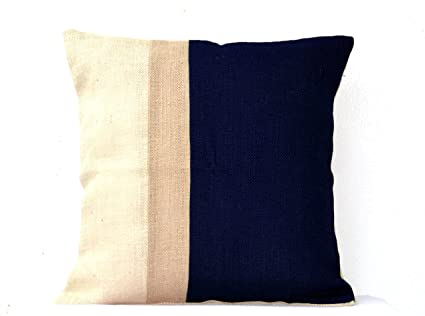 Amazon.com: Amore Beaute Navy Blue Colorblock Pillow Case ...