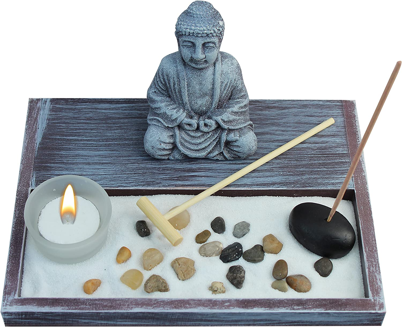 Incense Candle Not Included Zen Garden Deluxe Desk Meditation Garden Buddha Statue with Tea Light Holder and Rake Sand Rocks Incense Holder