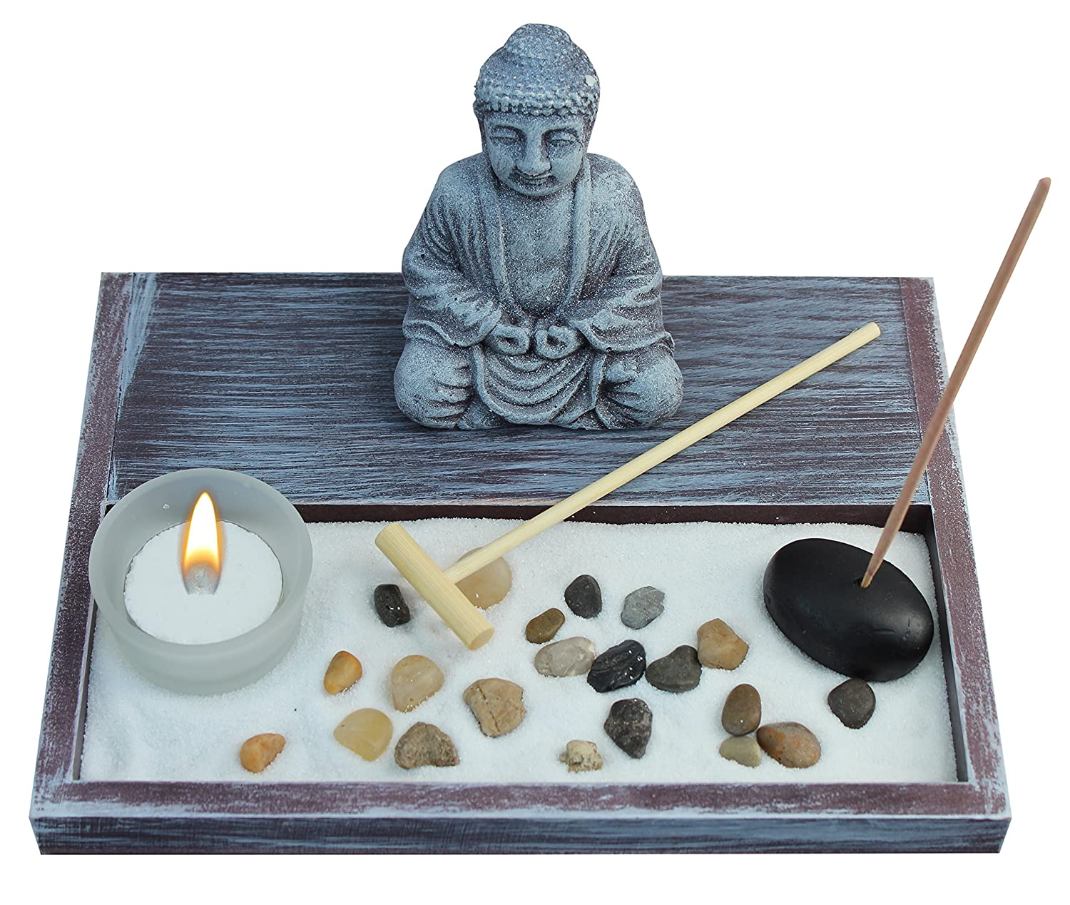 Zen Garden Deluxe Desk Meditation Garden Grey Buddha Statue with Rocks, Tea Light Holder, Rake, Incense and Incense Holder, Sand and Base - Peace & Tranquility (Candle Not Included)