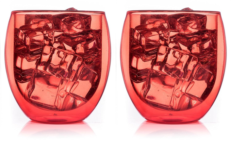 Juego de 2 rojos vasos de doble pared con efecto térmico ...