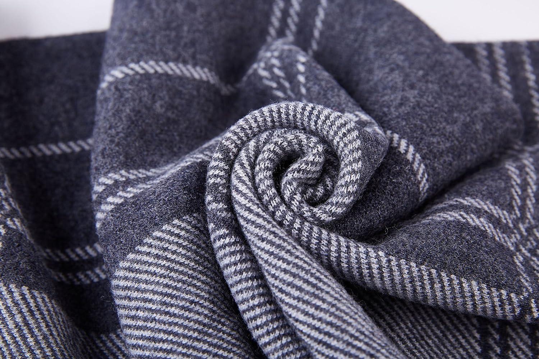 RIONA Mens Australian Merino Wool Stripe Knitted Scarf Black Soft Warm Gentleman Neckwear with Gift Box