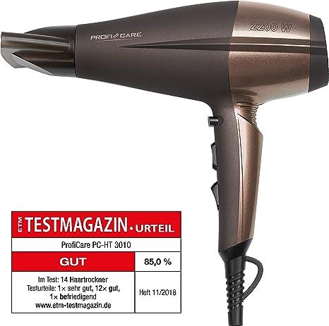 ProfiCare HT 3010 - Secador de pelo profesional iónico, 3 niveles de temperatura, 2