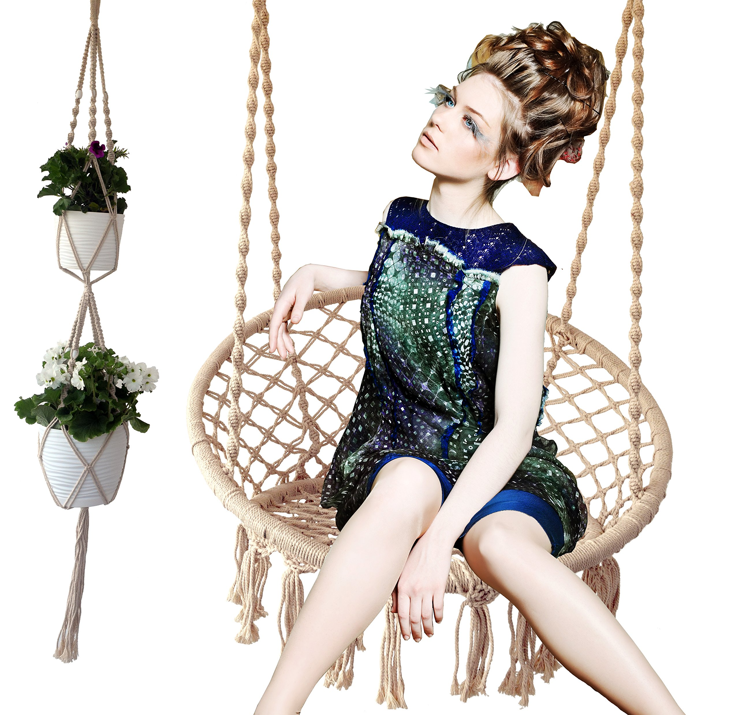 Europe Brands Hammock Macrame Swing Chair + 3 Absolutely For Perfect Decoration, Furniture for Indoor/Outdoor, Home, Patio, Deck, Yard, Garden, Reading, Leisure, Lounging by