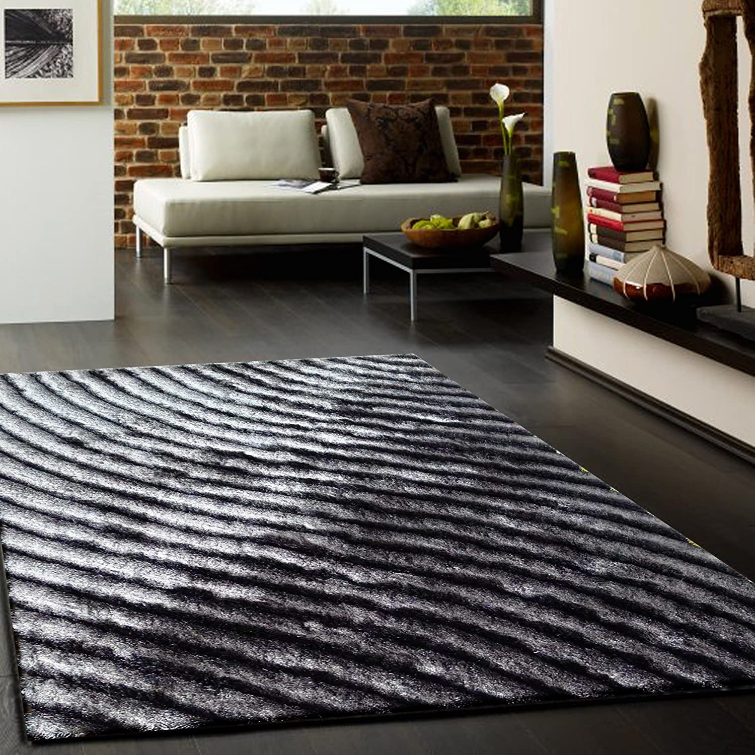 Marvelous 3D Shag Collection, 3D Gray Area Shag Rug, Hand Tufted, ~5ft X 8ft (160 X  225cm), ON SALE!: Kitchen U0026 Dining