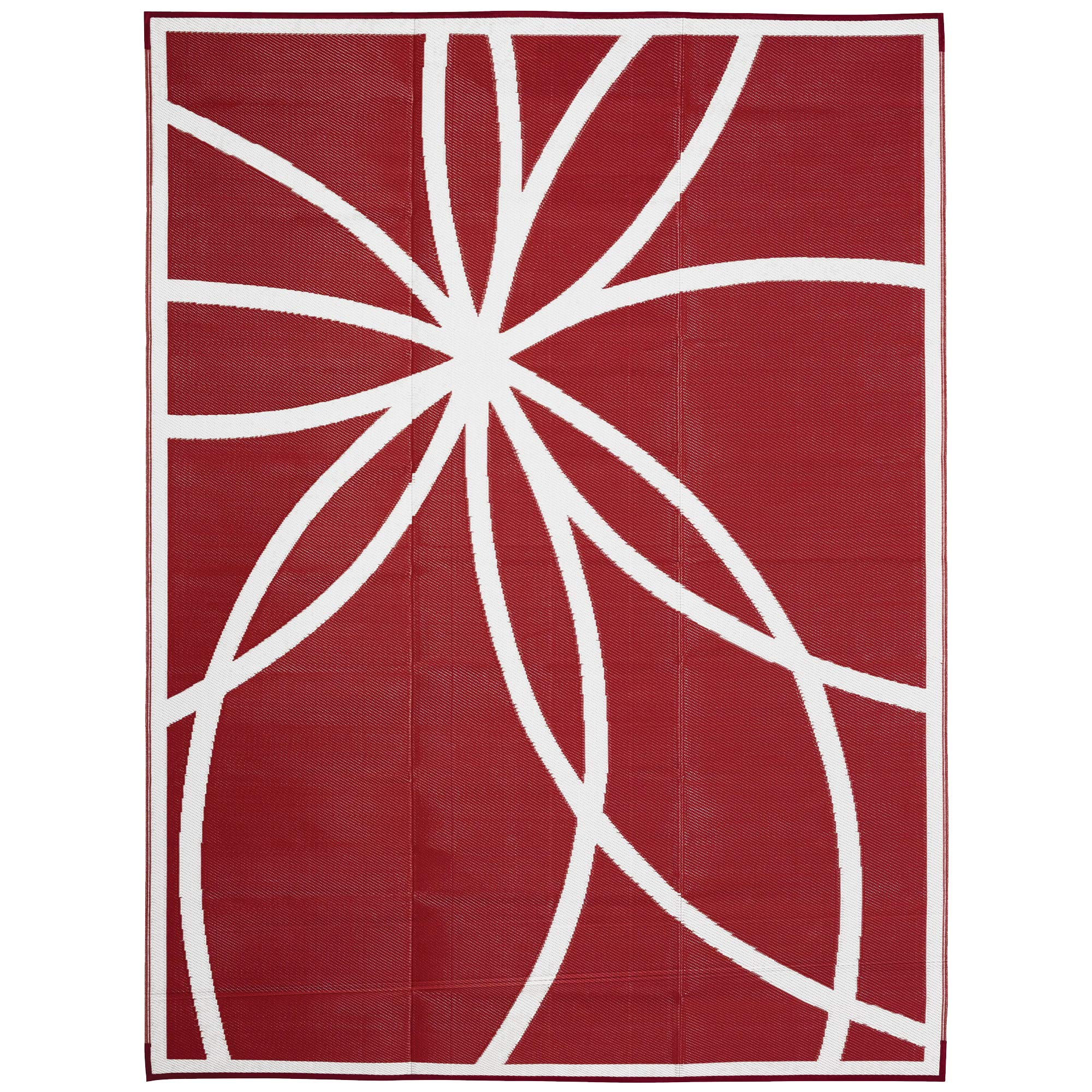 iCustomRug Inverso Outdoor Rug Collection, Reversible Plastic Area Rug 9' x 12' Will Not Fade for Patio, Balcony or Beach in Coral/Red and White