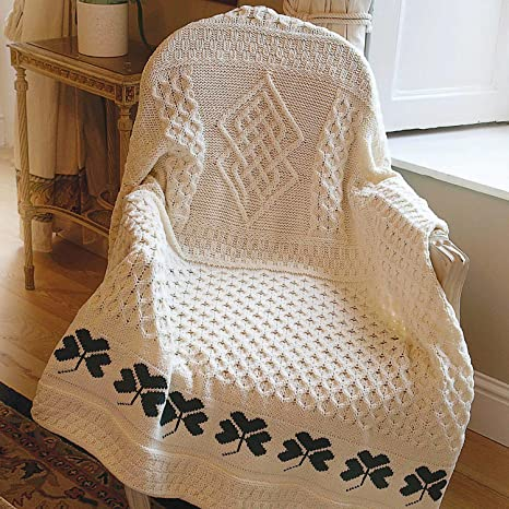 Amazon.com: 100% manta de lana de Merino irlandés Trébol 50 ...