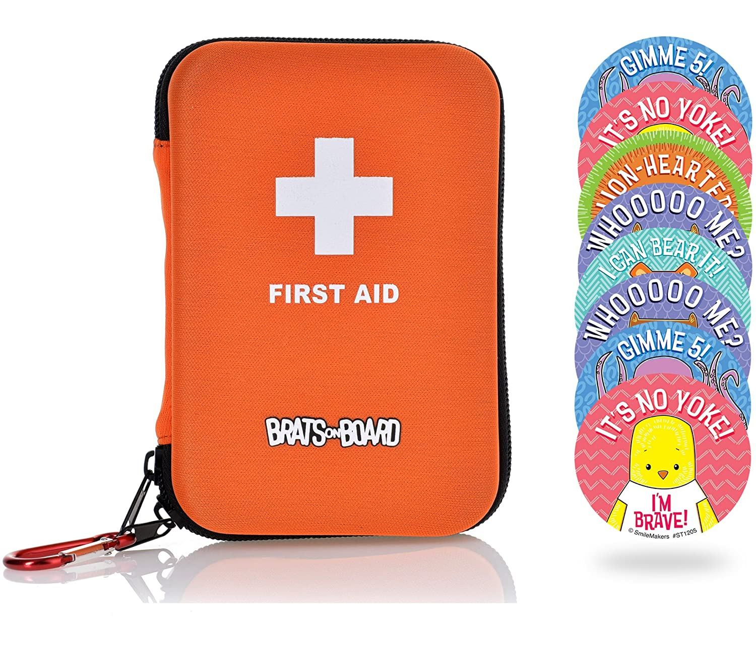 Compact Family Travel First Aid Kit 85 Piece Medical Supplies With Bonus Bravery Stickers For