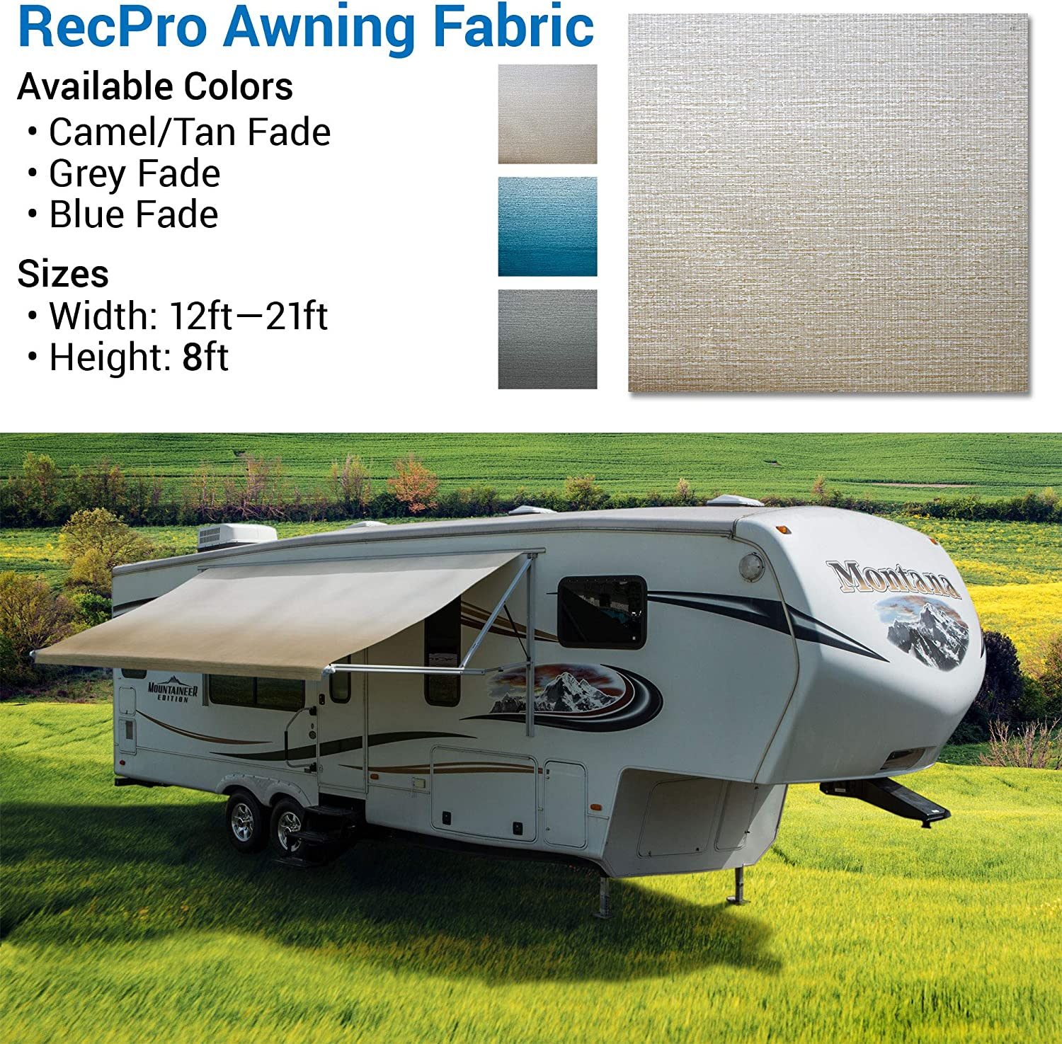 """15 Feet Width Length RV Awning Replacement Tan//Camel Fade Variety of Color Options Premium Vinyl 3//16/"""" Diameter Beading Cord 96 Heat-Sealed RecPro RV Awning Fabric 8"""