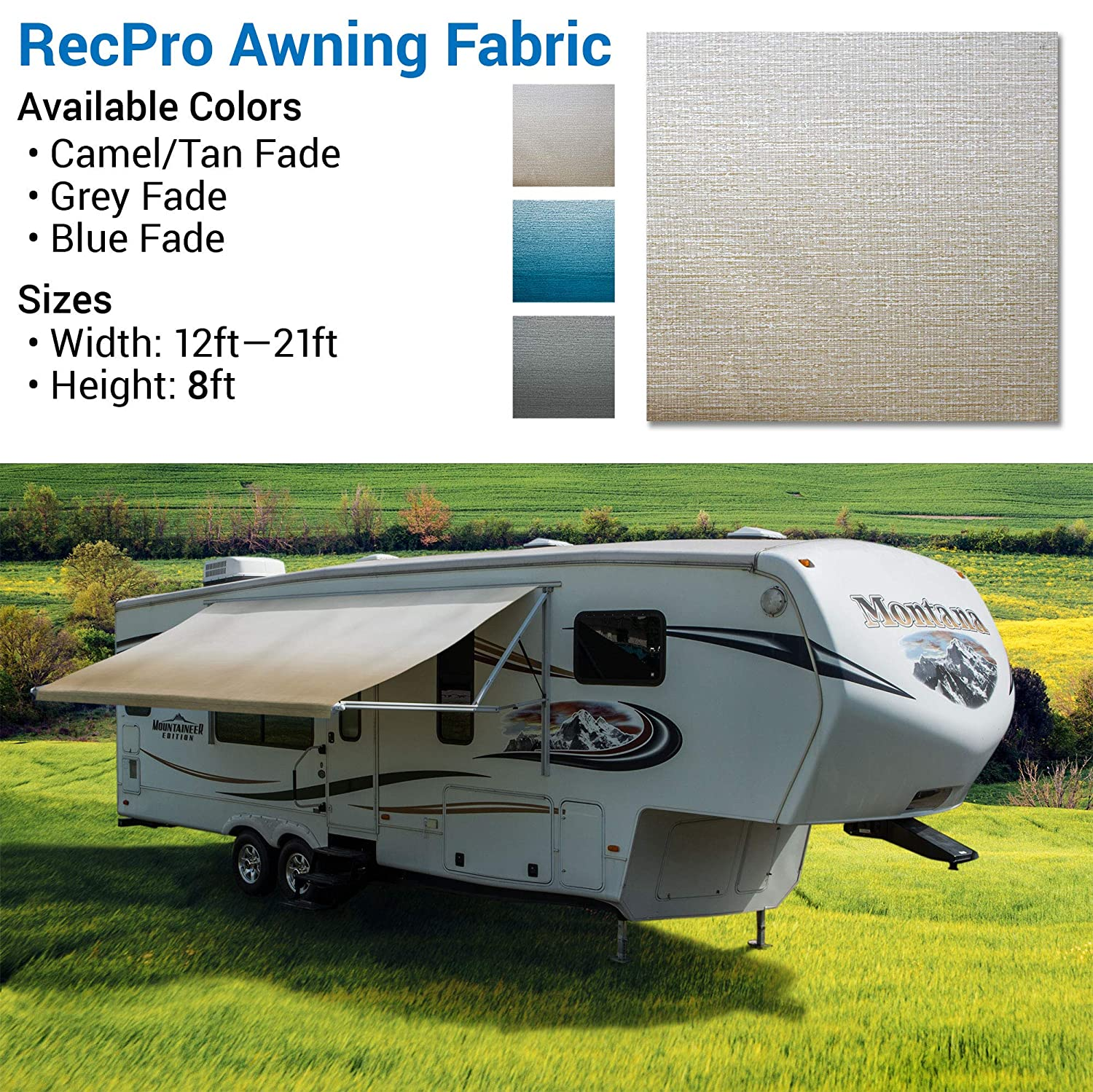 Variety of Color Options 96 8 Standard Grade Vinyl Length RV Awning Replacement RV Awning Fabric 19 Feet Width Tan//Camel Fade