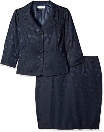 attractive style on sale online special for shoe Tahari by Arthur S. Levine Women's Plus Size Tahari ASL Jacquard Skirt  Suit, Navy 18W