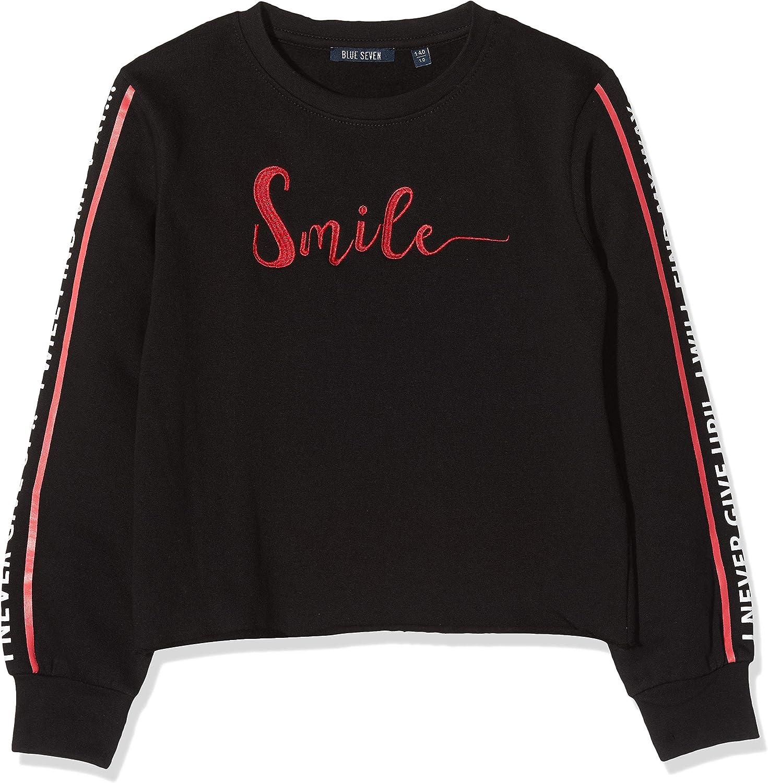 Blue Seven M/ädchen Sweatshirt mit Stickerei und /Ärmelaufdruck Maglia a Maniche Lunghe Bambina