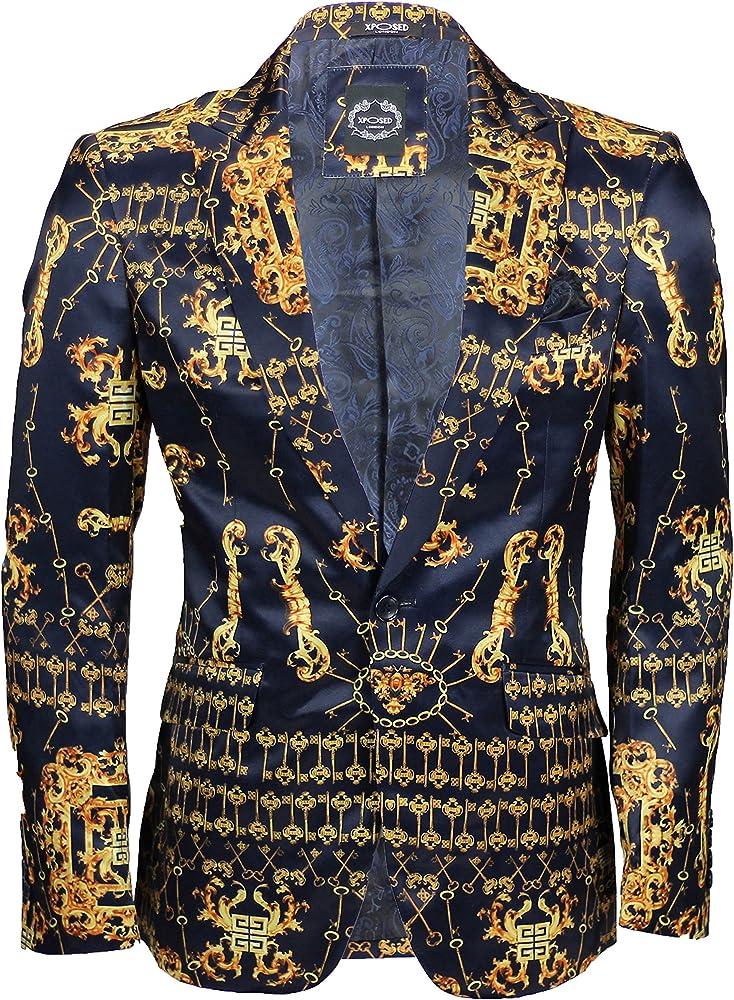 Chaqueta informal para hombre de tacto sedoso, color azul marino, con llave impresa, corte a medida, estilo elegante Negro Negro (48: Amazon.es: Ropa y accesorios