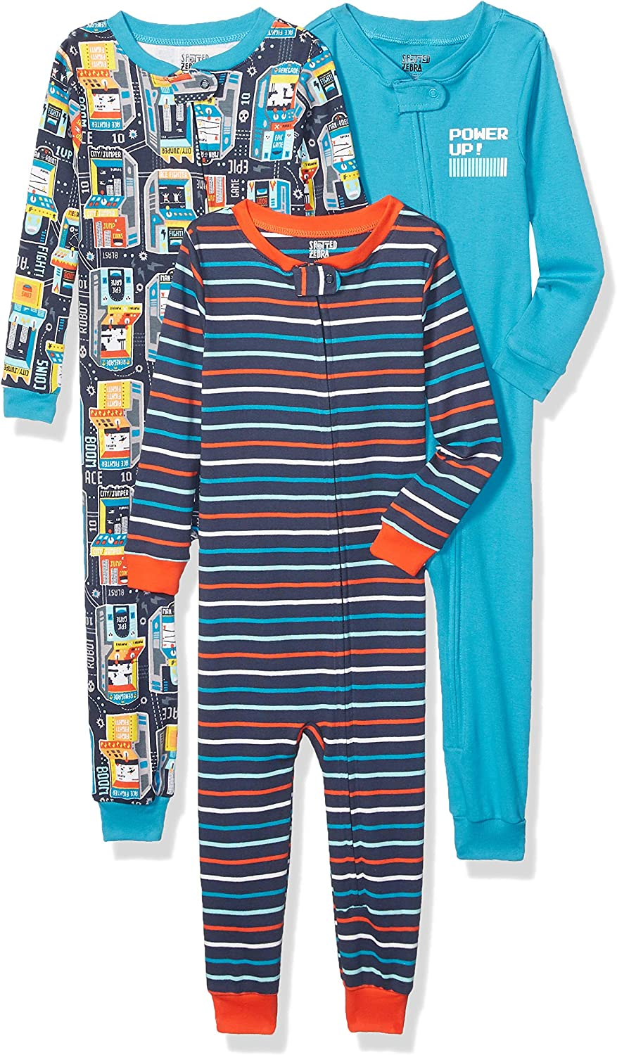 Spotted Zebra Unisex Kids 3-Pack Snug-fit Cotton Footless Sleeper Pajamas