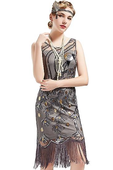 Artideco 1920s Kleider Damen Pfau Muster Knielang Vintage Abendkleid