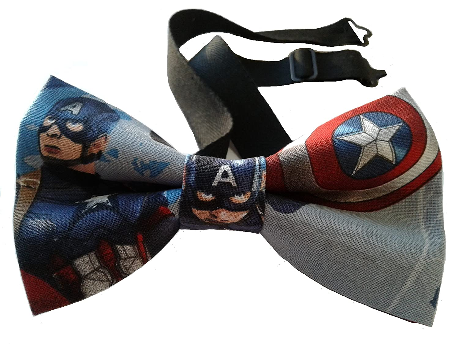 "Captain America Patriotic Bow Tie, Pretied, Cotton Adult 4.5"" x 2.5"" Adjustable to 18 Inches"
