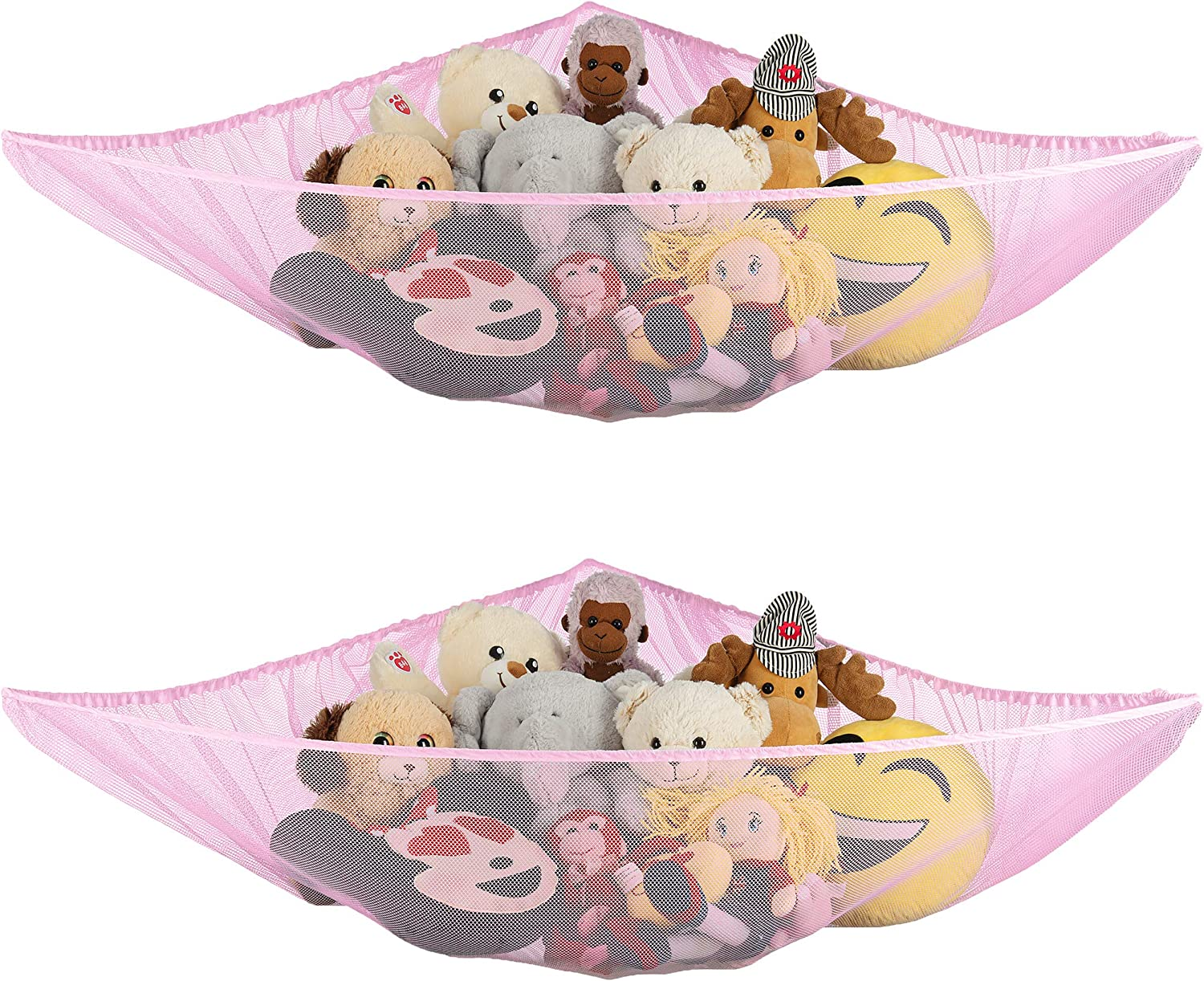 Ziz Home Stuffed Animal Hammock, 2 Pack, Nursery and Playroom Jumbo Toy Storage Net Organizer for Plush Toys, Kids Bedroom Décor, Rip-Resistant Stuff Animals Holder with Hanging Hardware (Pink)