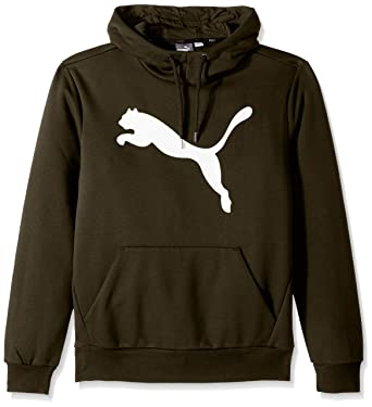 PUMA Men's Essential Fleece Big Cat Hoodie Olive Night Small