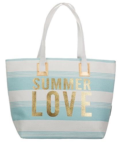 6bf4f627d2510 Bari BRANDSSELLER Strandtasche Sommer Love Damen Schultertasche Shopper  Sommer Tasche Druckknopf Verschluss Größe 54x18x35 cm -