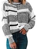 ECOWISH Womens Knit Sweater Striped Stitching Pullover Long Sleeve Scoop Neck Top Color Block Sweaters