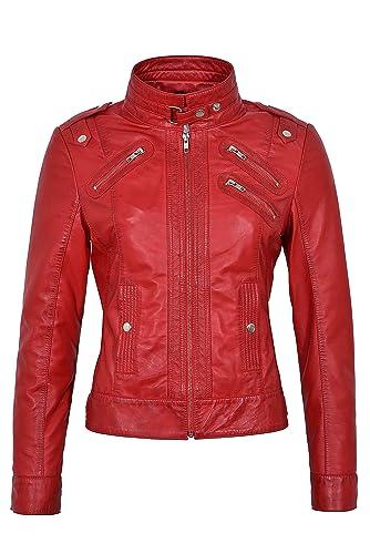GEMMA 2030 Modelo de damas Rojo estilo biker con diseño ajustado, chaqueta de cuero Nappa