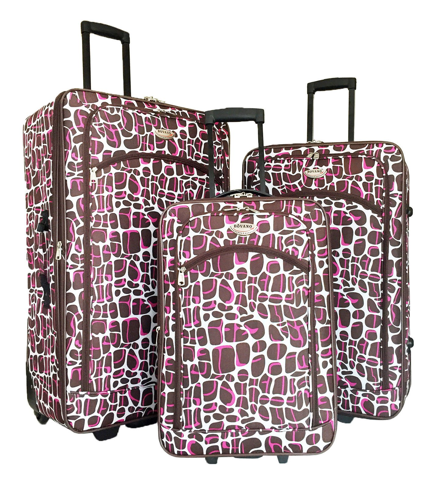 3pc Luggage Set Travel Bag Rolling Wheel Carryon Expandable Upright Giraffe Pink by Trendy Flyer