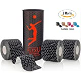 FlexU Kinesiology Tape; Super Saver 3 Roll Pack; 60 Pre-Cut 10 Inch Strips; Hypoallergenic Longer Lasting Pro Grade; Therapeutic Recovery Athletic Wrap Tape