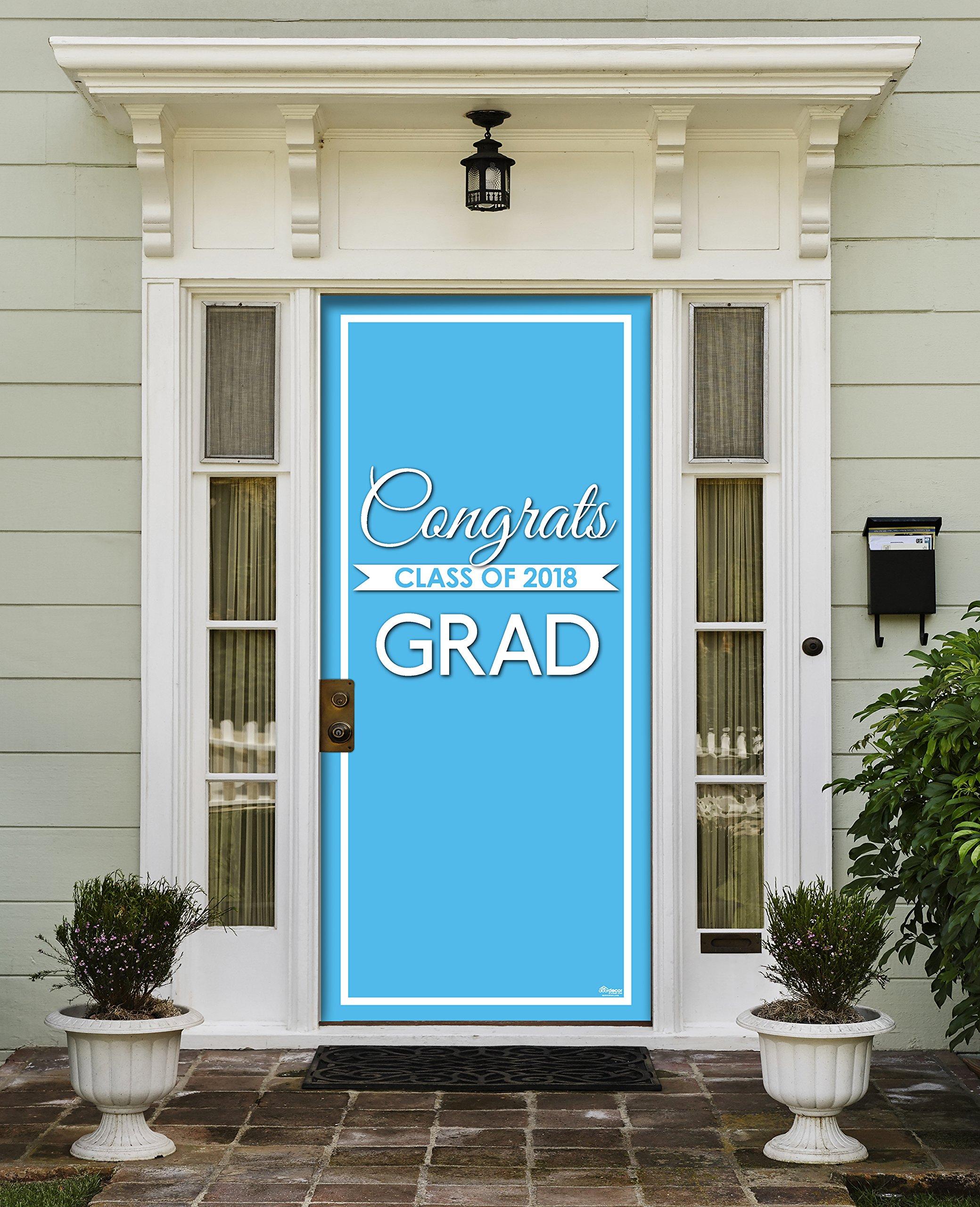 Victory Corps Class Banner Light Blue - Outdoor GRADUATION Garage Door Banner Mural Sign Décor 36'' x 80'' One Size Fits All Front Door Car Garage -The Original Holiday Front Door Banner Decor