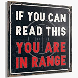 "Barnyard Designs If You Can Read This You are in Range Funny Retro Vintage Metal Tin Bar Garage Sign Wall Art Decor 11"" x 11"""