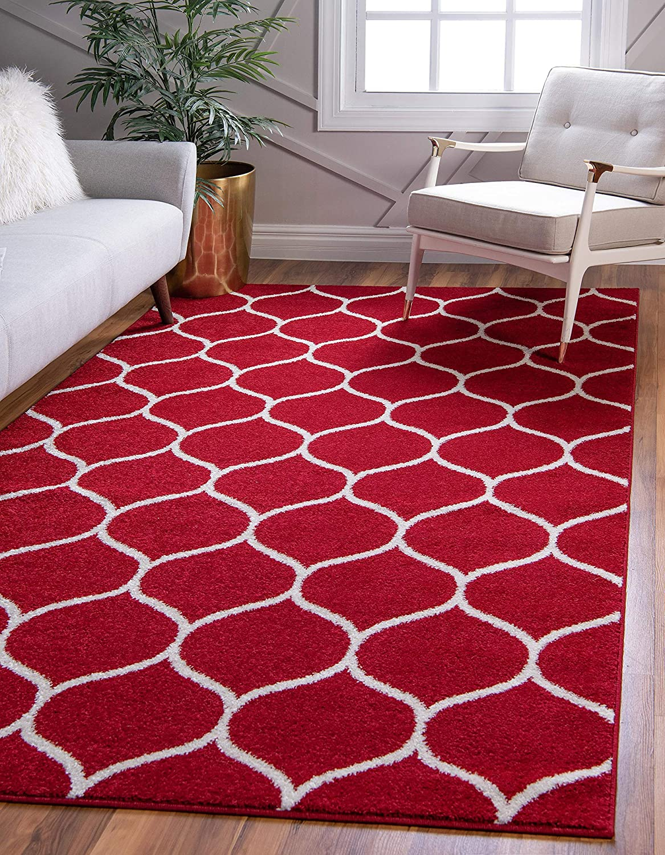 Unique Loom Trellis Frieze Collection Lattice Moroccan Geometric Modern Red Area Rug (5' 0 x 8' 0)