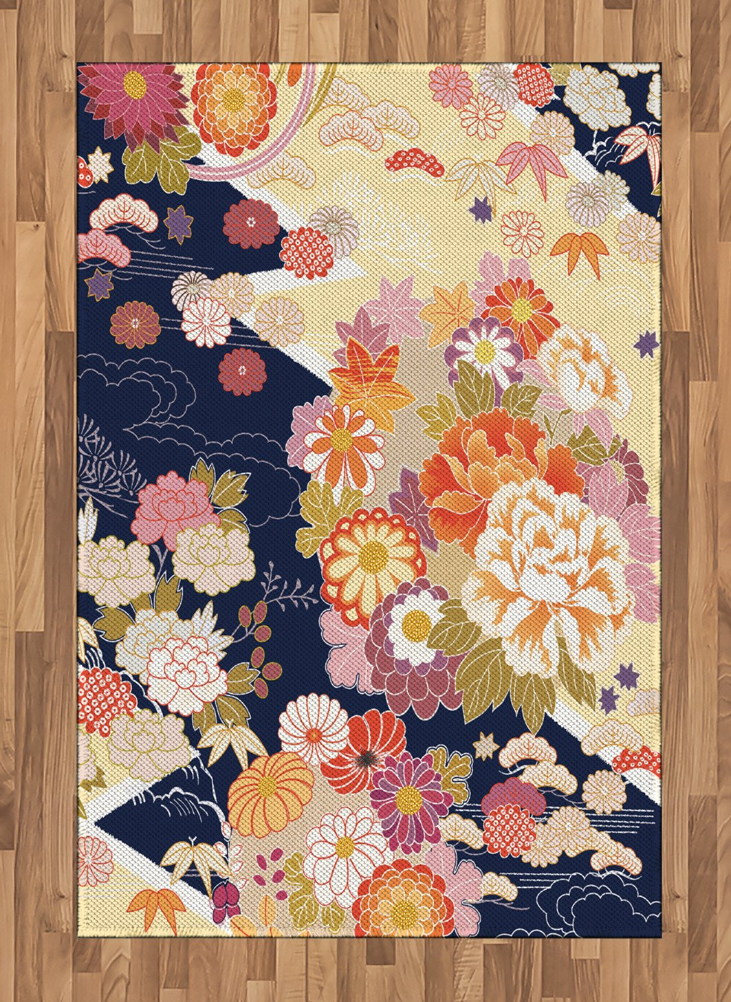 Ambesonne Japanese Area Rug Traditional Kimono Motifs Vintage Story Flower Chrysantemum 2 Composition Asian Ethnic Floral Patterns Artwork Flat Woven Accent For