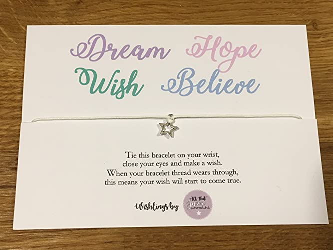 Personalised Wish Bracelet Inspirational Quote Dreams Hope Wish