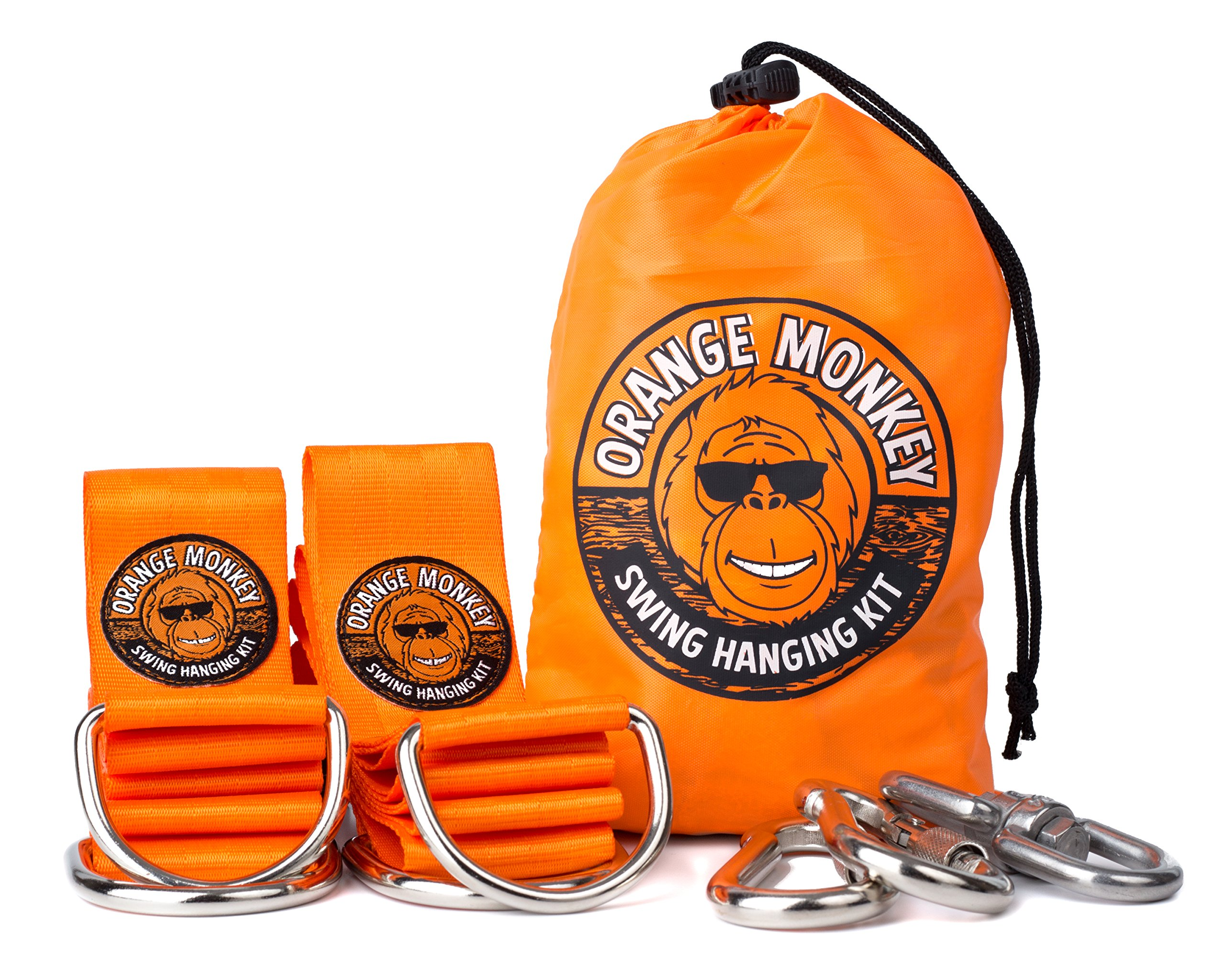 Swing Straps | Tree Swing Hanging Kit Connects To Any Swing | (2) 5' Orange Tree Swing Straps With Safety Locking Carabiners | Swing 360 Degrees (Swivel) | SGA Certified | No Tools Required